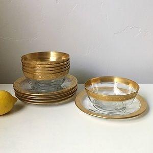 🆕 Listing! Vintage | Gold Rim Bowls & Underplates